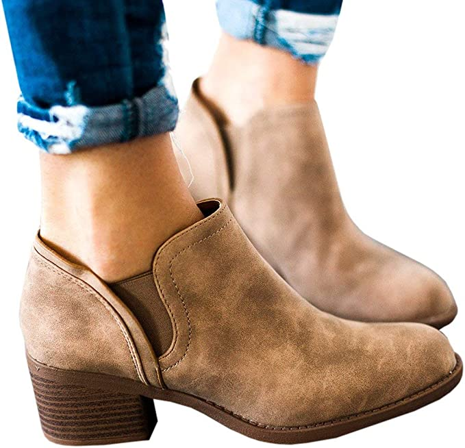 Womens Ankle Boots Causal Slip on Chunky Stacked Block Heel Booties Faux Leather Heeled Shoes