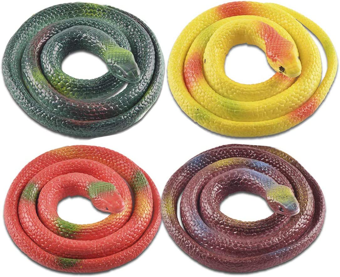 LRCXL 4 Pieces Realistic Rubber Snakes, Fake Snake Black Snake Toys for Garden Props to Scare Birds, Squirrels, Mice, Pranks and Halloween Decoration - 27.5 Inch