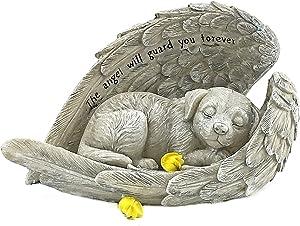 Bellaa 22885 Dog Angel Pet Memorial Grave Marker Tribute Statue 9 Inch Polyresin Stone Finish