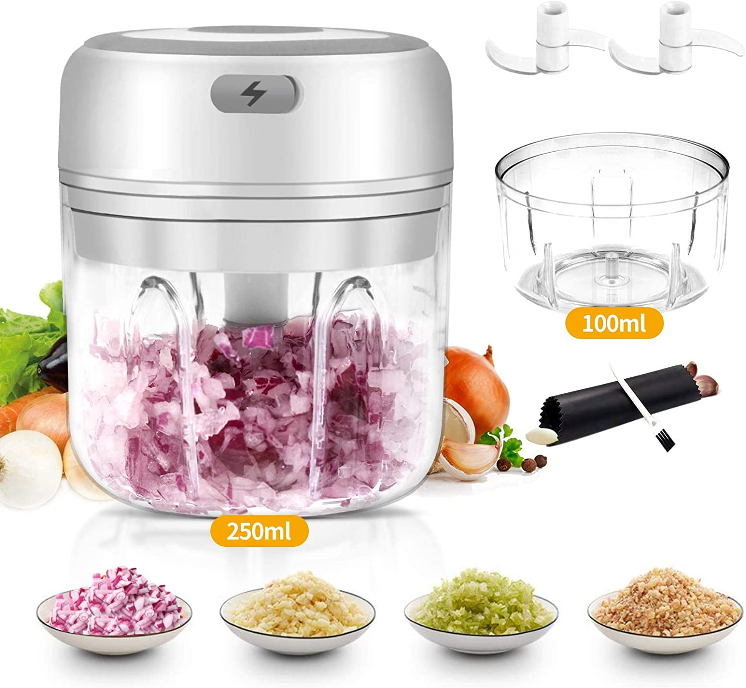 Mini Garlic Chopper, Electric Mincer, Food Dicers, Food Slicer Crusher, Wireless, Rechargeable & Portable for Garlic/Chili/Vegetables/Onions/Nuts/Pepper/Ginger
