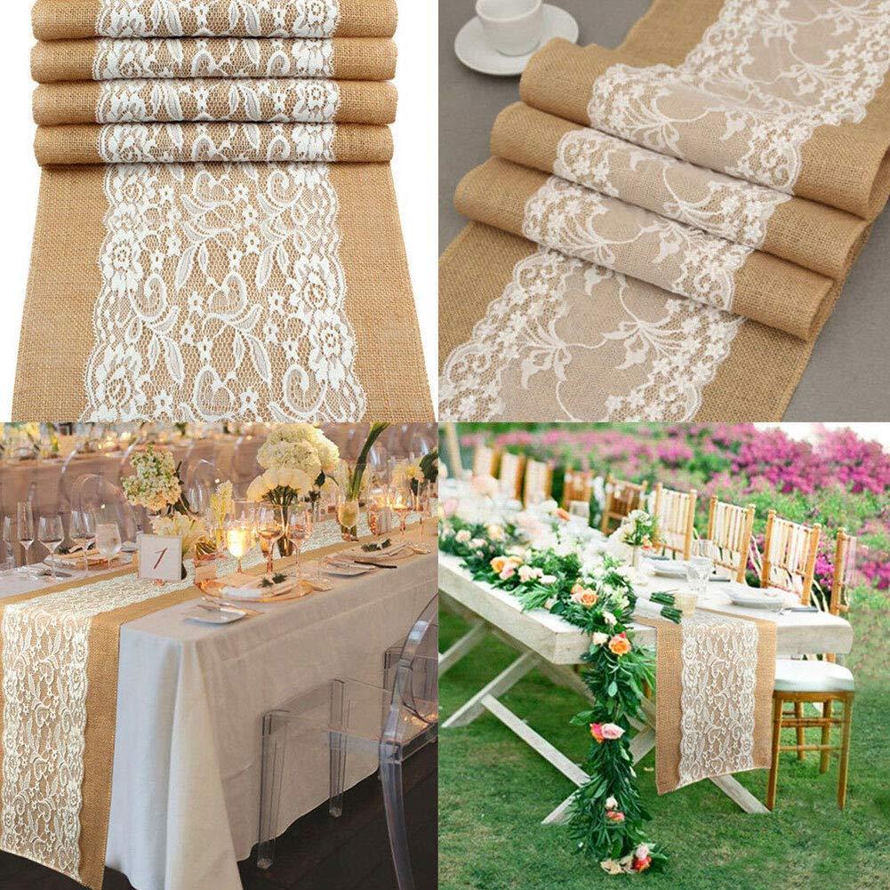 cumplea/ños 30 x 180cm 1 vintage arpillera Navidad r/ústico boda fiesta decoraci/ón del hogar banquete Camino de mesa para comedor restaurante encaje