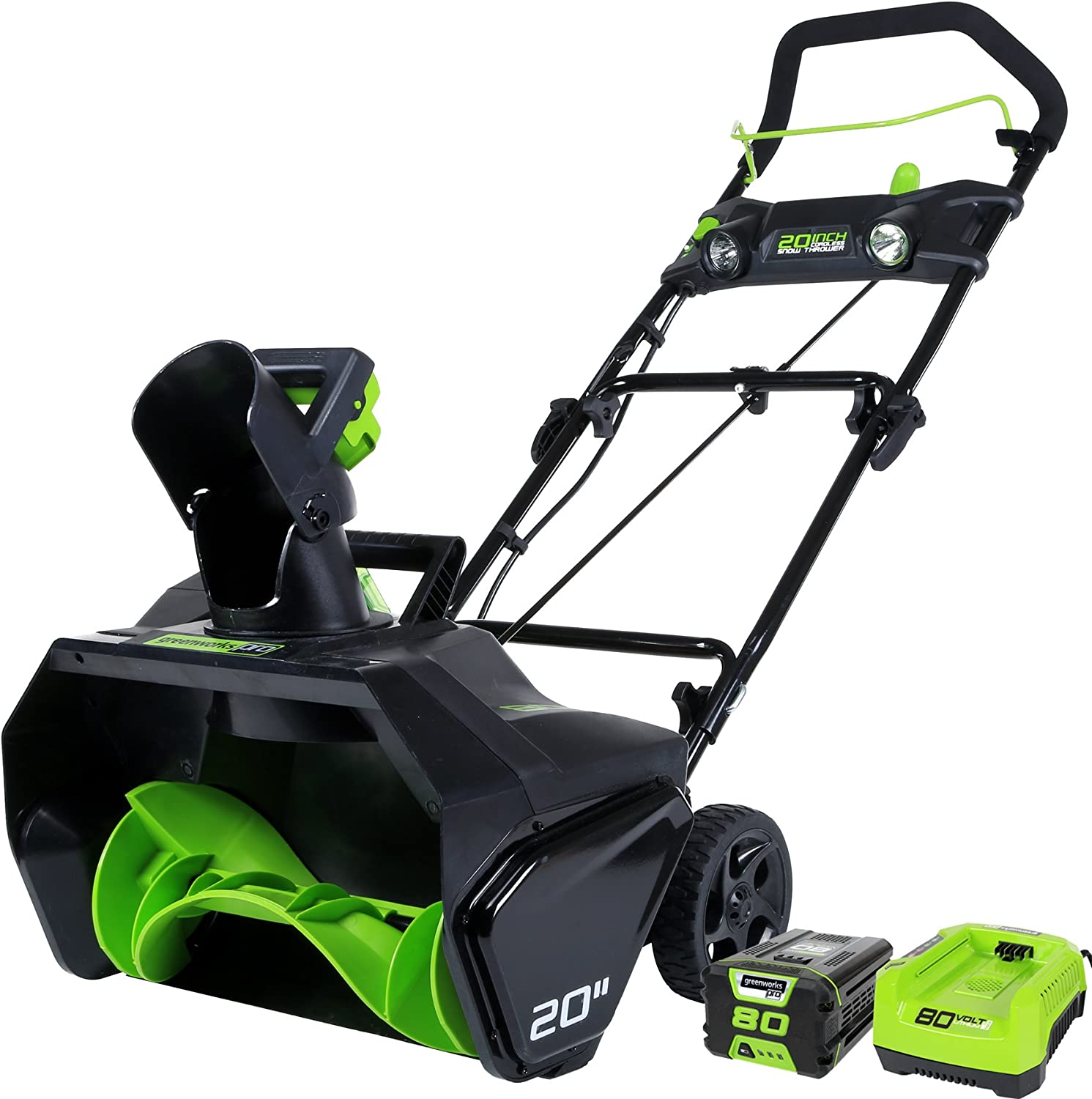 B00Y9PZEP8 GreenWorks 2600402 Pro 80V 20-Inch Cordless Snow Thrower, 2Ah Battery & Charger Included 71SaSiJn7RL