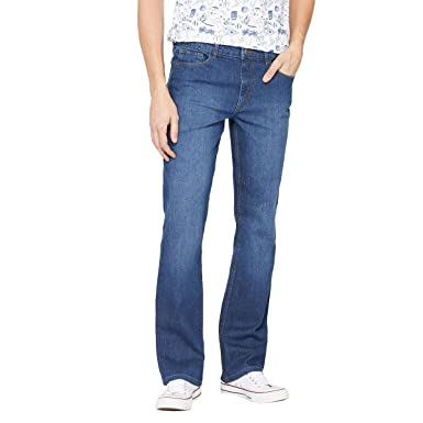 bb0ddfae7b14 La Redoute Collections Mens Bootcut Stretch Denim Jeans Blue Size 28 Length  34