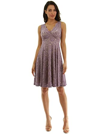 27f2c32be9 PattyBoutik Women Floral Lace Overlay Fit and Flare Dress (Light Purple and  Beige X-