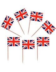 50 Union Jack British Flag Toothpicks Party Favour Party Decorations Cupcake Toppers