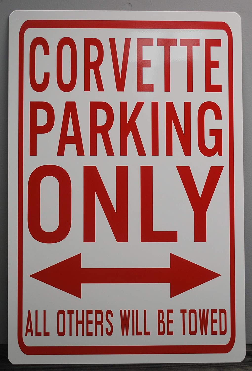 Motown Automotive Design Metal Street Sign Corvette Parking ONLY 12 X 18 CAR HOT Rod Muscle CAR Wall Art Gift BAR Man CAVE Restaurant Shop Garage FITS Chevy Stingray Split Window Z06 327 427 Vette