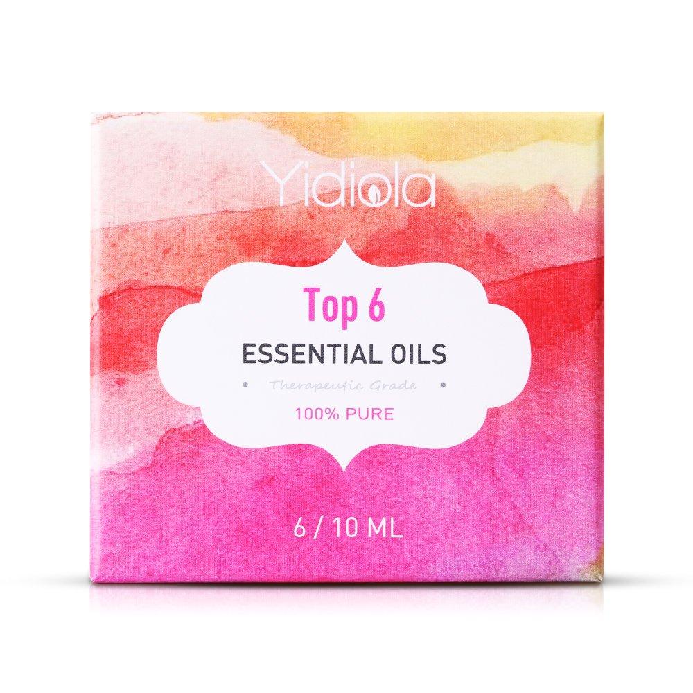 YIDIOLA Essential Oils Set, Top 6 100% Pure Natural Therapeutic Grade Aromatherapy Essential Oil Set (Lavender,Peppermint,Eucalyptus,Tea Tree,Lemon,Vanilla) w/2 Glass Droppers