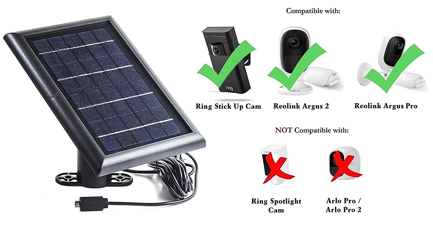 Details about Solar Panel for Ring Stick Up Cam and Reolink Argus 2, Power  Your Outdoor
