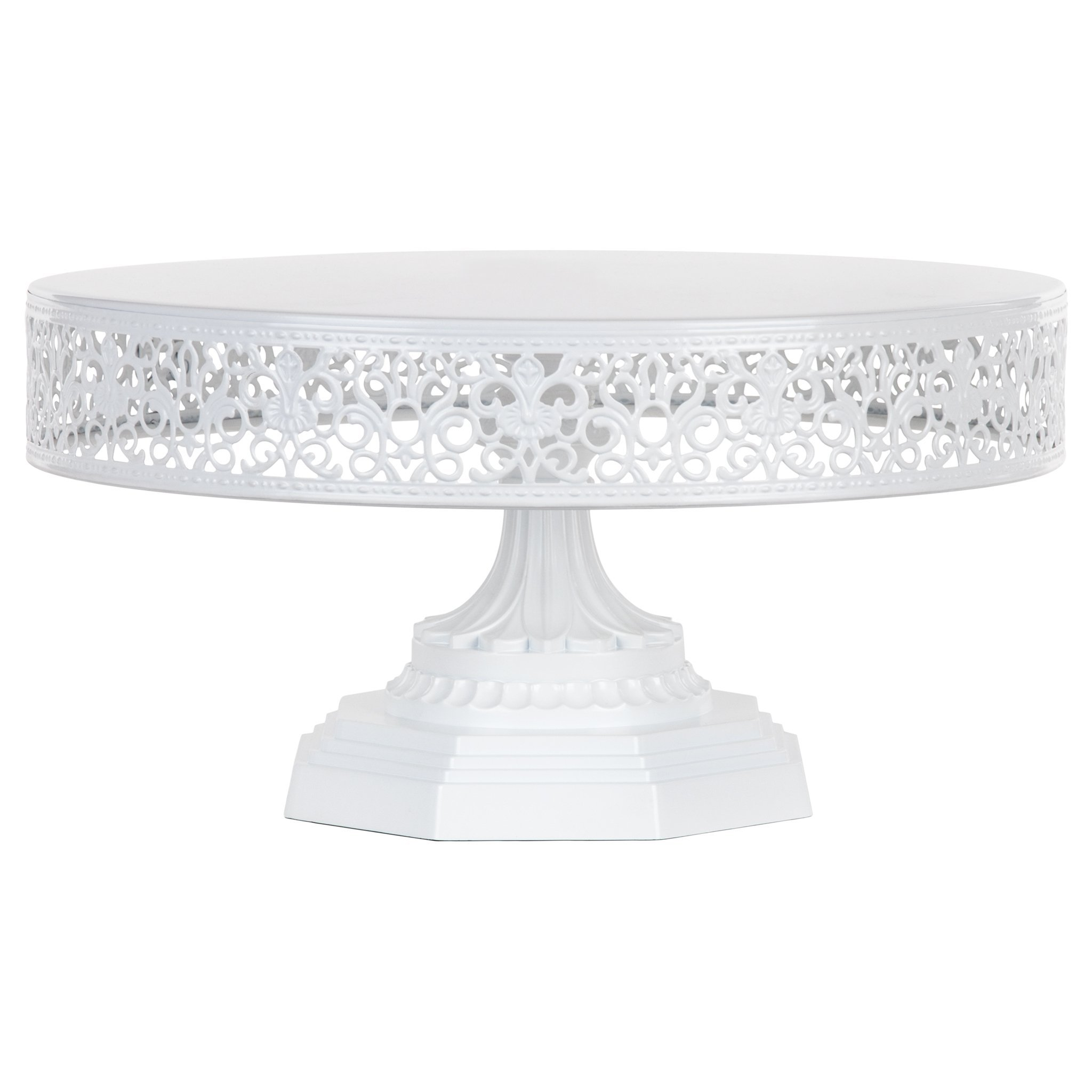 Amalfi Decor 12-Inch Metal Cake Stand, Round Steel Display Pedestal for Wedding Events Birthday Party Dessert Cupcake Plate (White)