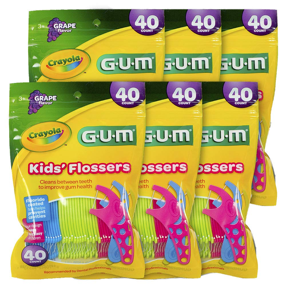 GUM Crayola Kids' Flossers, Grape, Fluoride Coated, Ages 3+, 40 Count (Pack of 6)