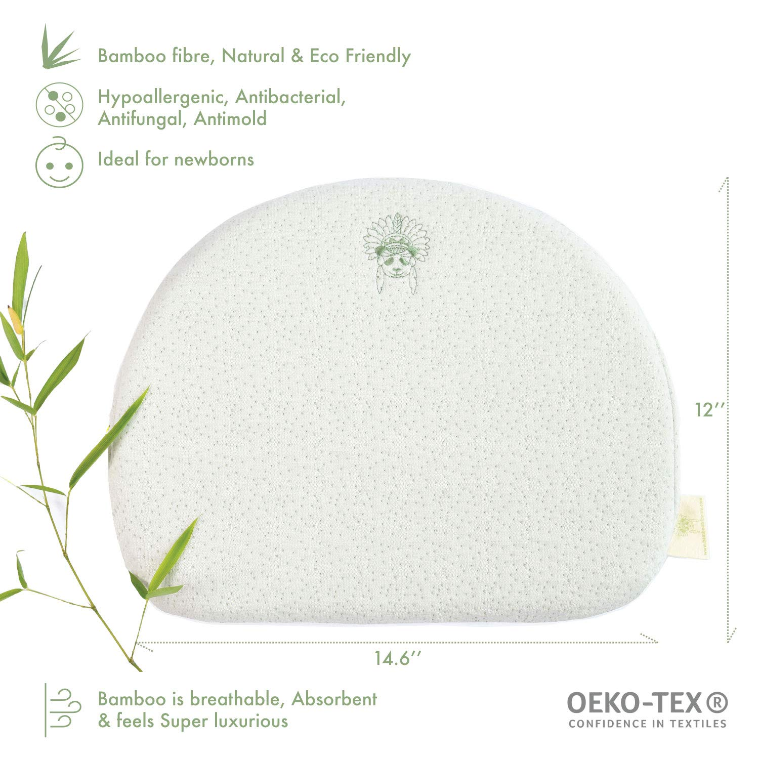 Memory Foam Bamboo Baby Universal Bassinet Wedge Handcrafted Waterproof Layer Acid Reflux Thermoregulating Eco Friendly Bamboo Bonus Bamboo Pillowcase Relief from Colic Nasal Congestion