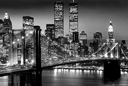 Brooklyn bridge 36x24 black and white photo suspension bridge east river 24x36 poster