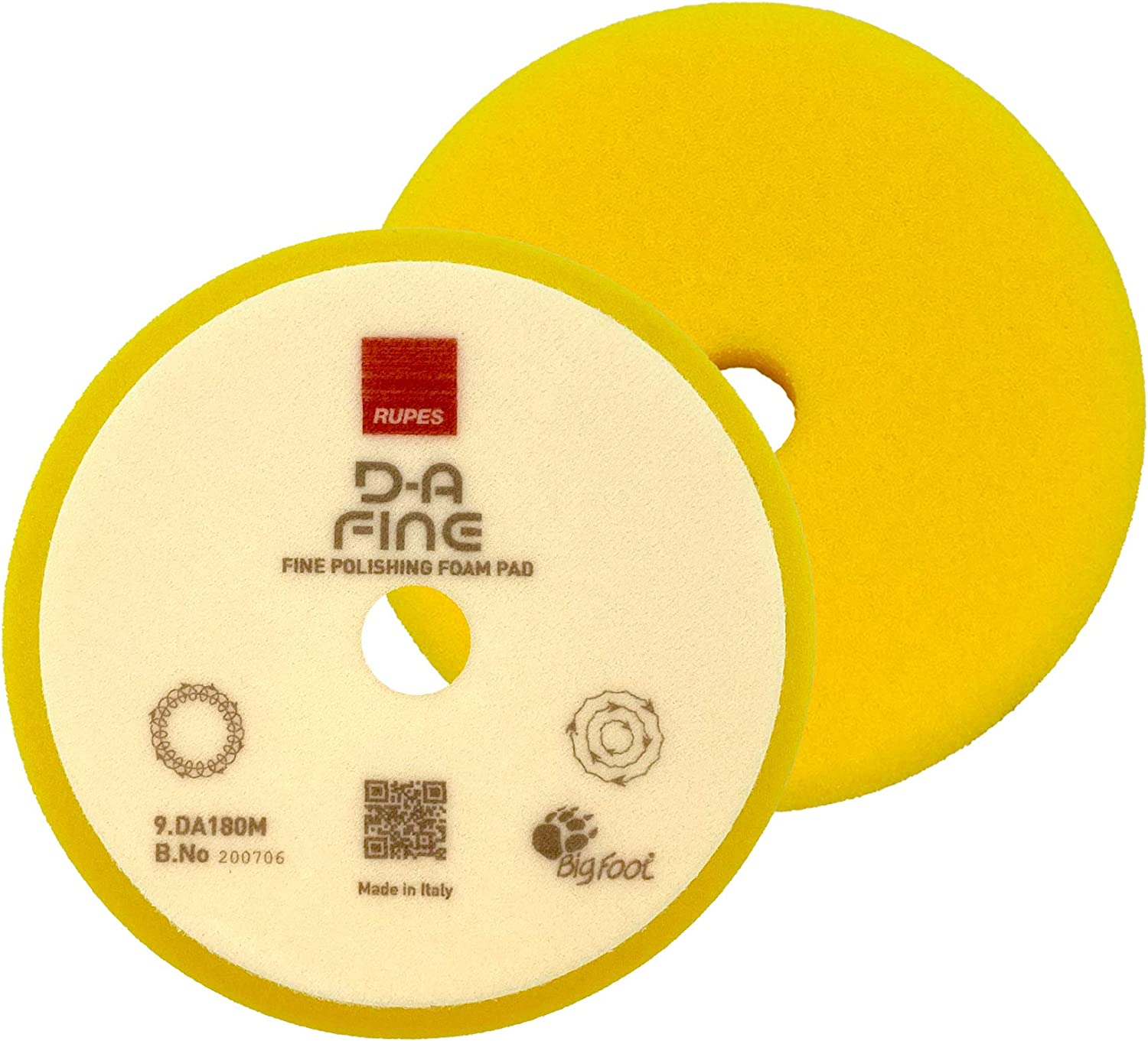 D//A 180mm Rupes High Performance Fine Finishing Yellow Foam Pad