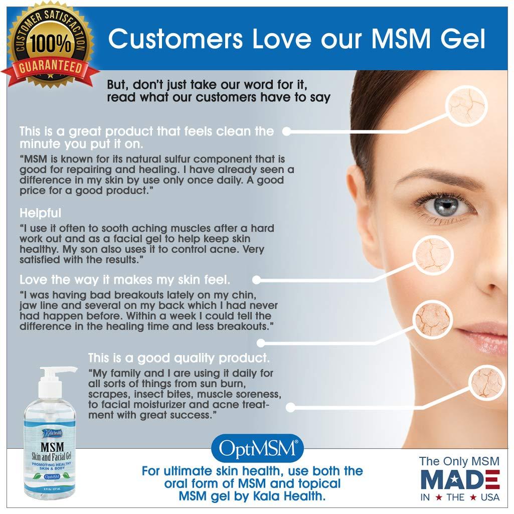 Kala Health MSMPure Max Strength Skin and Facial MSM Gel with Organic Aloe,  Preservative Free,