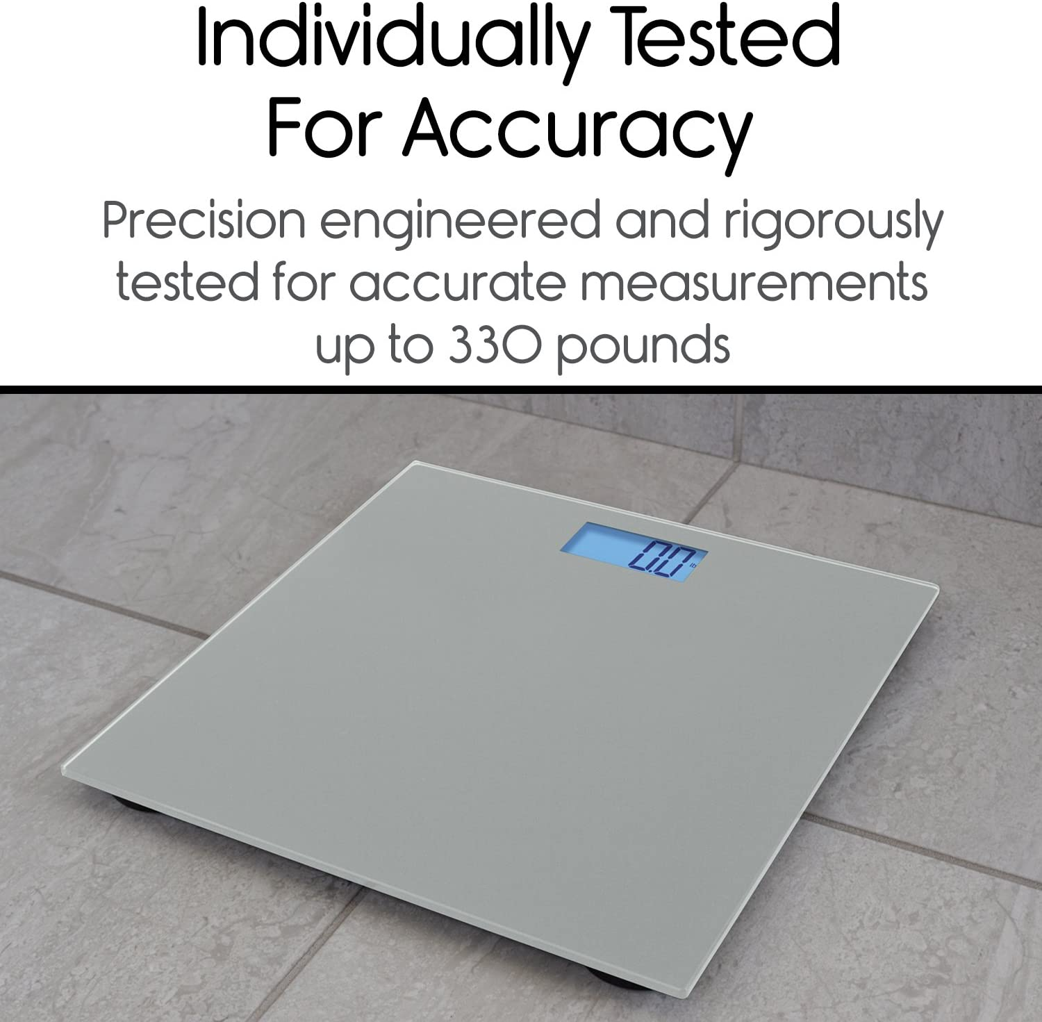 Vive Precision Digital Bathroom Scale – Heavy Duty Electric Body Weight Measuring Device – Home Bath Scale, Easy to Read, Backlit Display – Accurate Dietary Weighing Silver