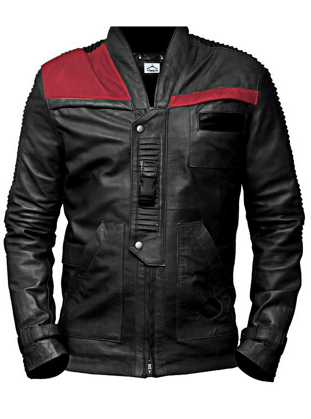 VearFit Star Wars Finn Regular Big & Tall Size Black Genuine Mens leather jacket, Large, Black