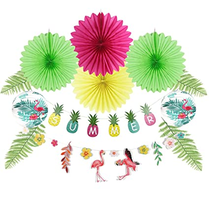 Amazoncom Summer Flamingo Party Decoration Tissue Paper Fans