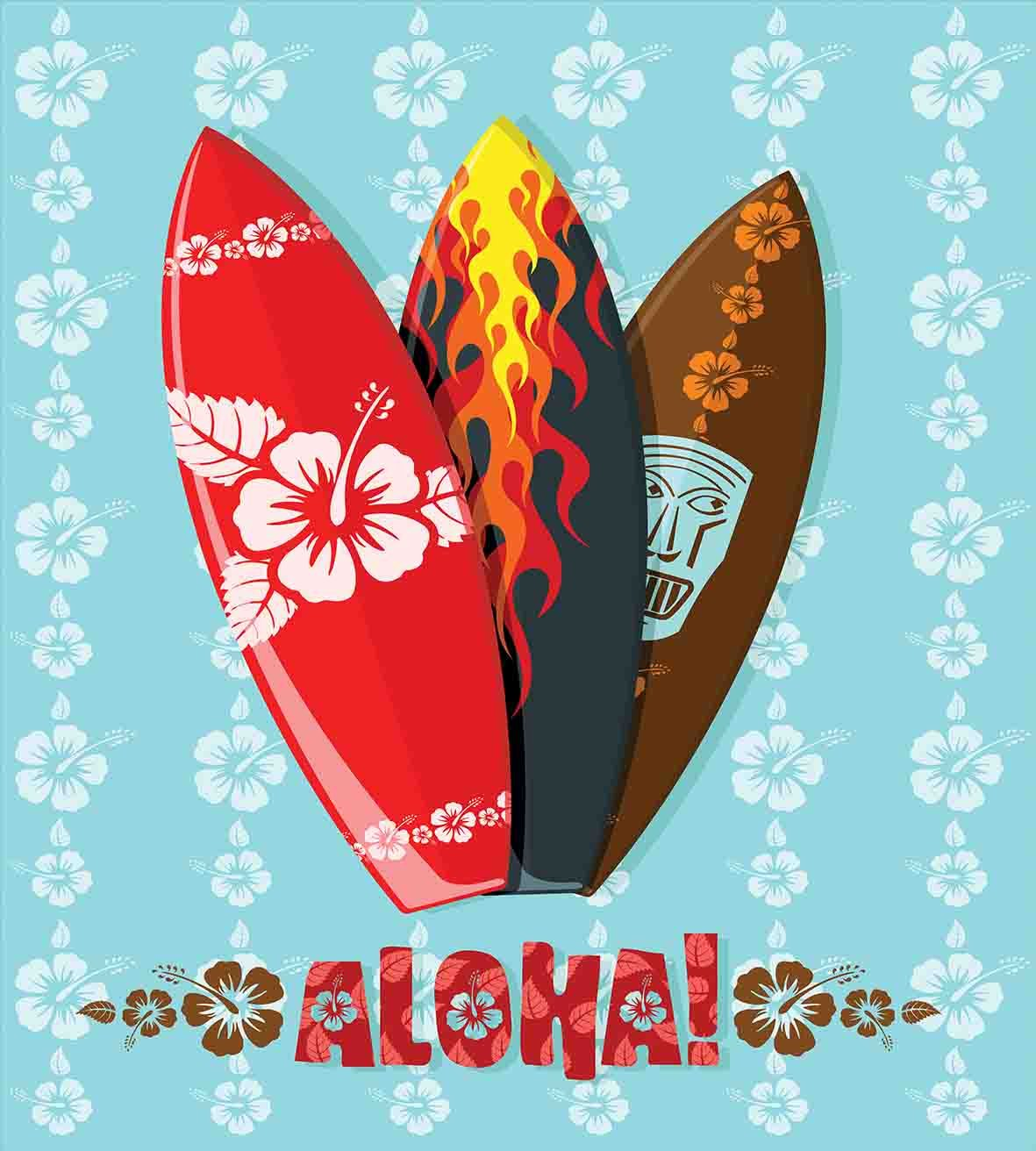 Amazon.com: Ambesonne Surf Duvet Cover Set Twin Size, Illustration of Modern Aloha Surfboards with Hibiscus Tribal Mask Flame Extreme Sports, Decorative 2 ...