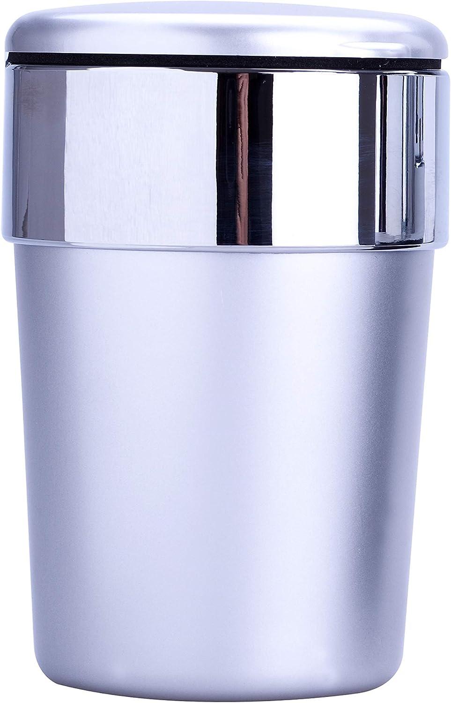 Silber AUTO ASCHENBECHER mit Deckel LED Licht Autoaschenbecher Windaschenbech KFZ 12