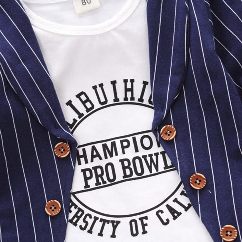 Pants+Coat Cywulin Baby Boys Clothes Set Stripe Letter Print Long Sleeve T-Shirt