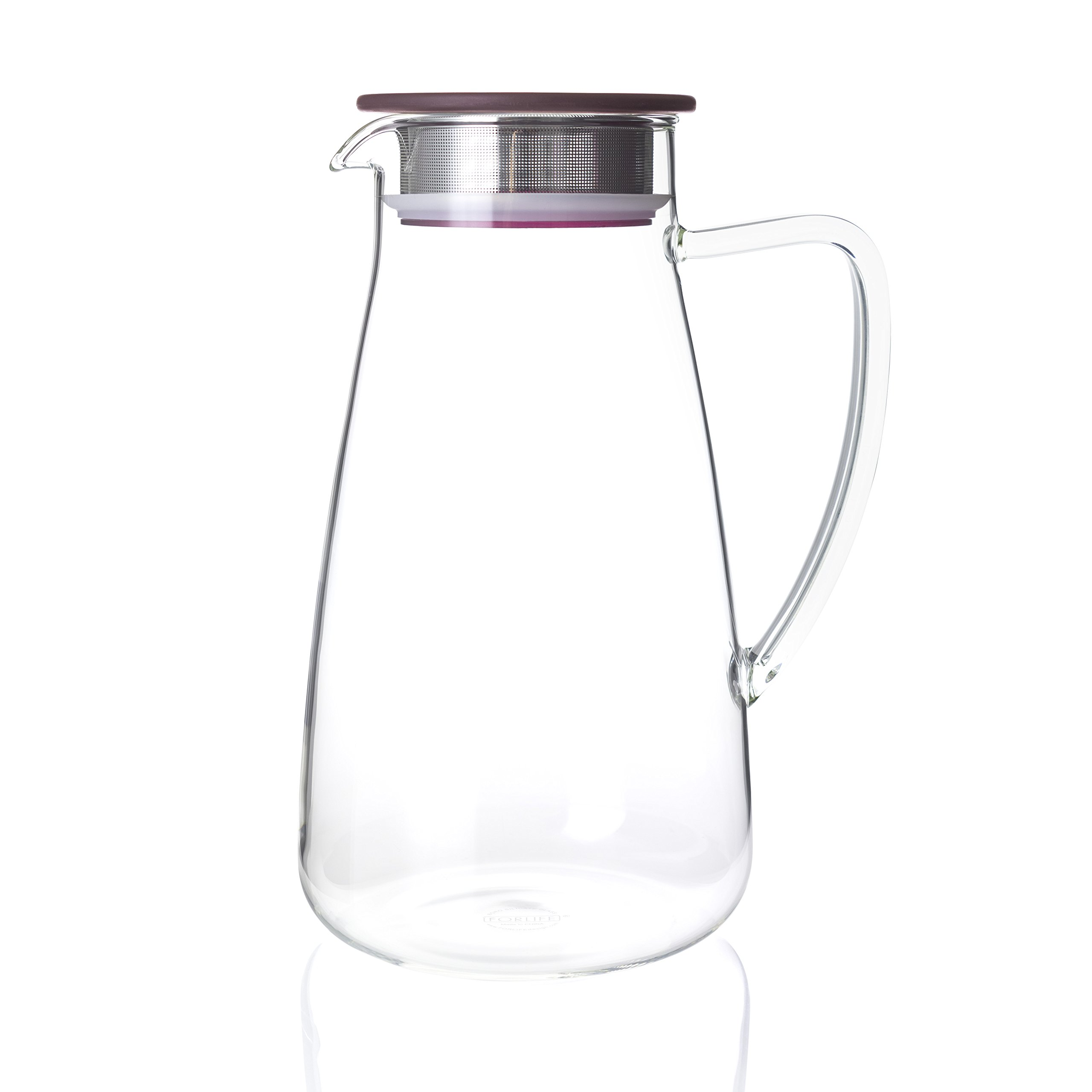 FORLIFE 838-A-CRB Flask Glass Iced Tea Jug Pitcher, 64 oz, Cranberry