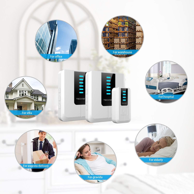 Wasserdicht Funkklingel Set TECKNET Kabellose Türklingel 2 Empfänger 1 Sender