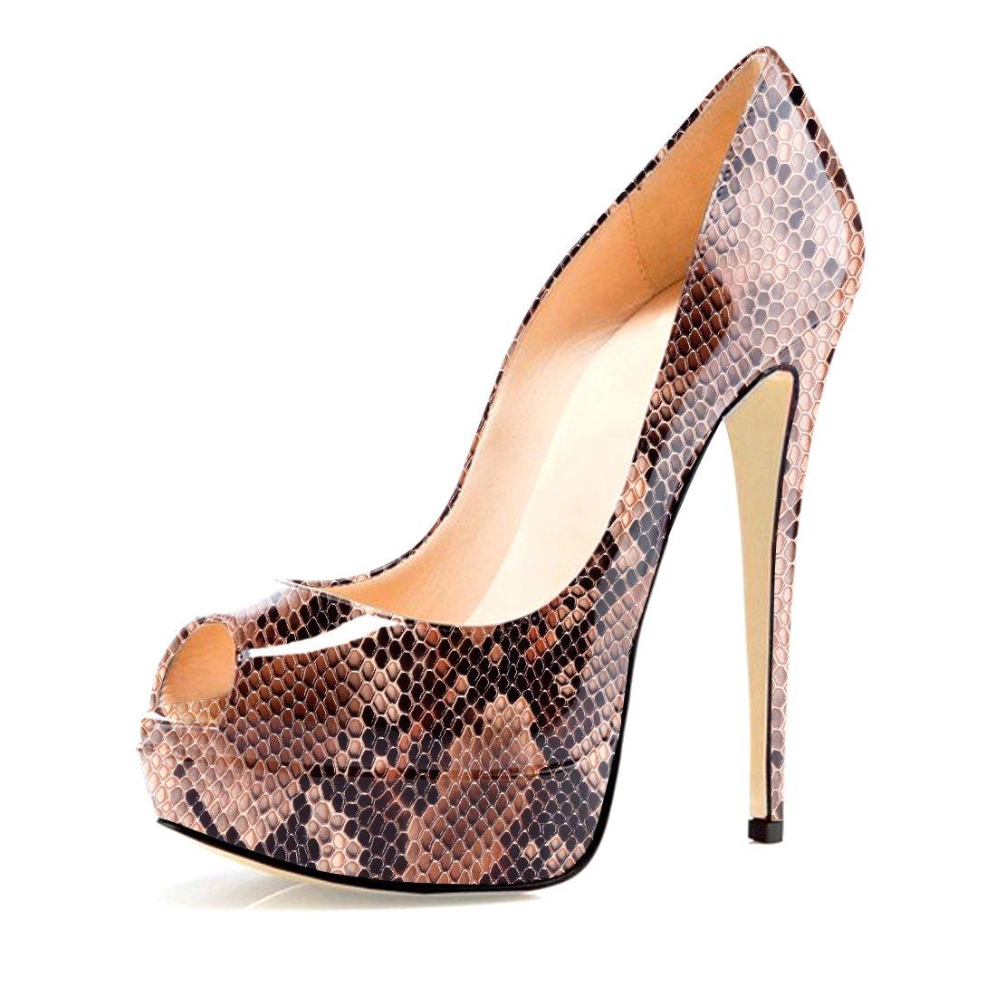 Soireelady - Zapatos con tacón Mujer 36 EU|Python-brown