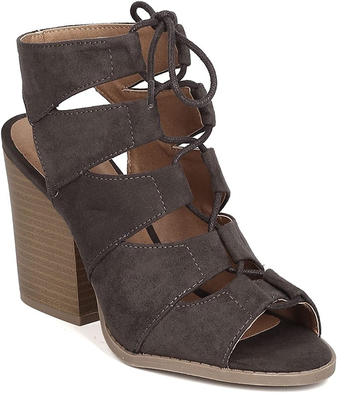 camel ladies strappy fauxe suede  block ankle heels gladiator  strap