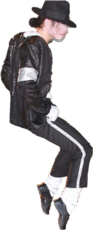 Calzini Pant Guanto Cappello Shuanghao Halloween Cosplay Costume Adatto per i Fan di Michael Jack Cosplay Cos Bambino Costume Adulto 5 Pezzi Jacket