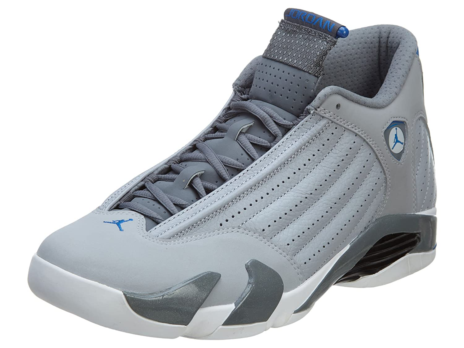 97fd27ee9e7f Amazon.com  NIKE Air Jordan 14 Retro Men Sneakers Wolf Grey Cool  Grey White Sport Blue 487471-004 (SIZE  13)  Shoes