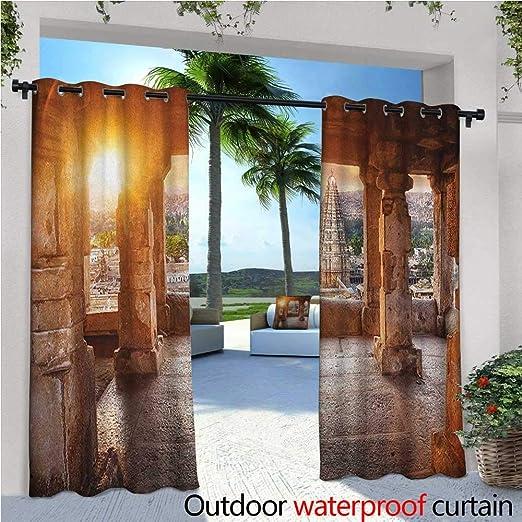 Cortinas de patio asiático, diseño de elefante folclórico sobre ...