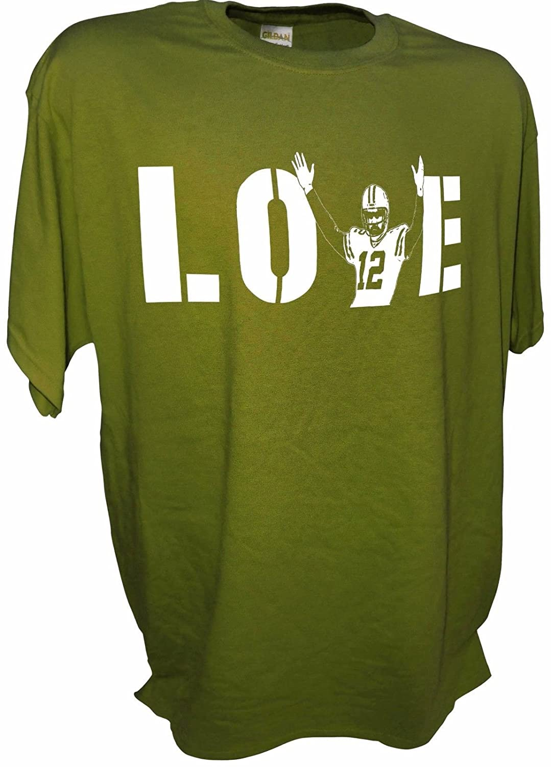 f2e4d1120 Amazon.com  MENS LOVE Aaron Rodgers Green Bay Packers QB 12 Tee By Achtung T  Shirt LLC  Clothing