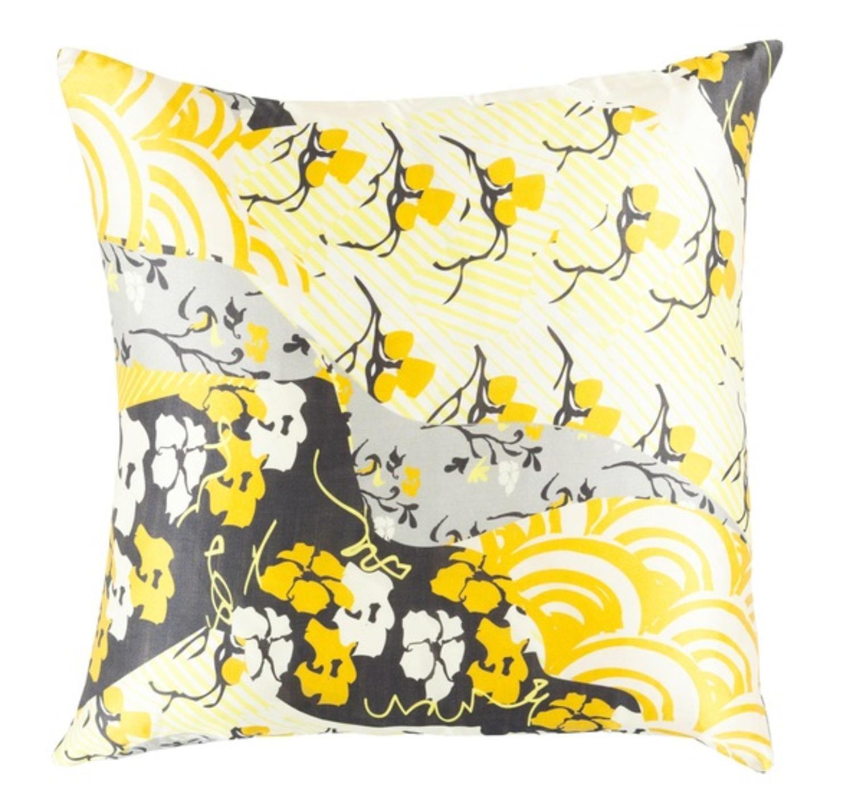 20'' Dream Nursery Lemon Yellow, Black and White Decorative Square Throw Pillow - Down Filler