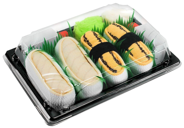 Sushi Socks Box - 2 pares de CALCETINES: Nigiri Tamago Pampanito - REGALO DIVERTIDO, Algodón de alta Calidad|Tamaños 36-40, Certificado de OEKO-TEX, ...