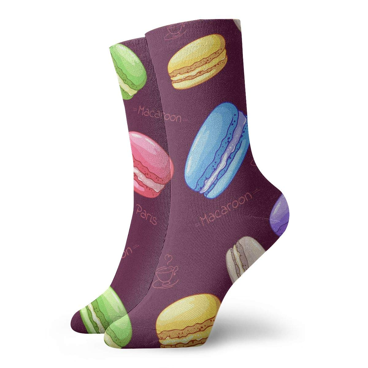 Colorful Beautiful French Macaron Dessert Fashion Dress Socks Short Socks Leisure Travel 11.8 Inch