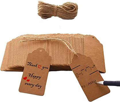 WRAPAHOLIC Gift Tags with String 100PCS Happy Easter Tags with 100 Feet Natural Jute Twine