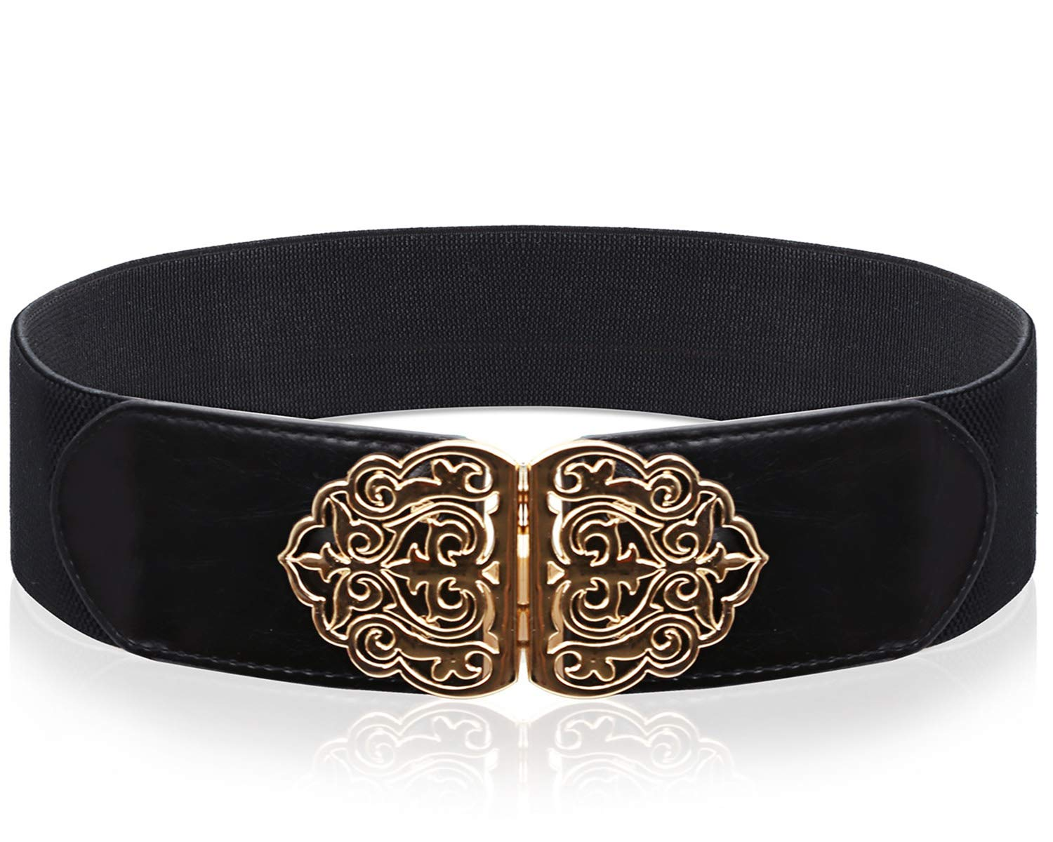 BELLEZIVA Women Black Belts Western Elastic Wide Renaissance Waist Belt for Pants Dresses