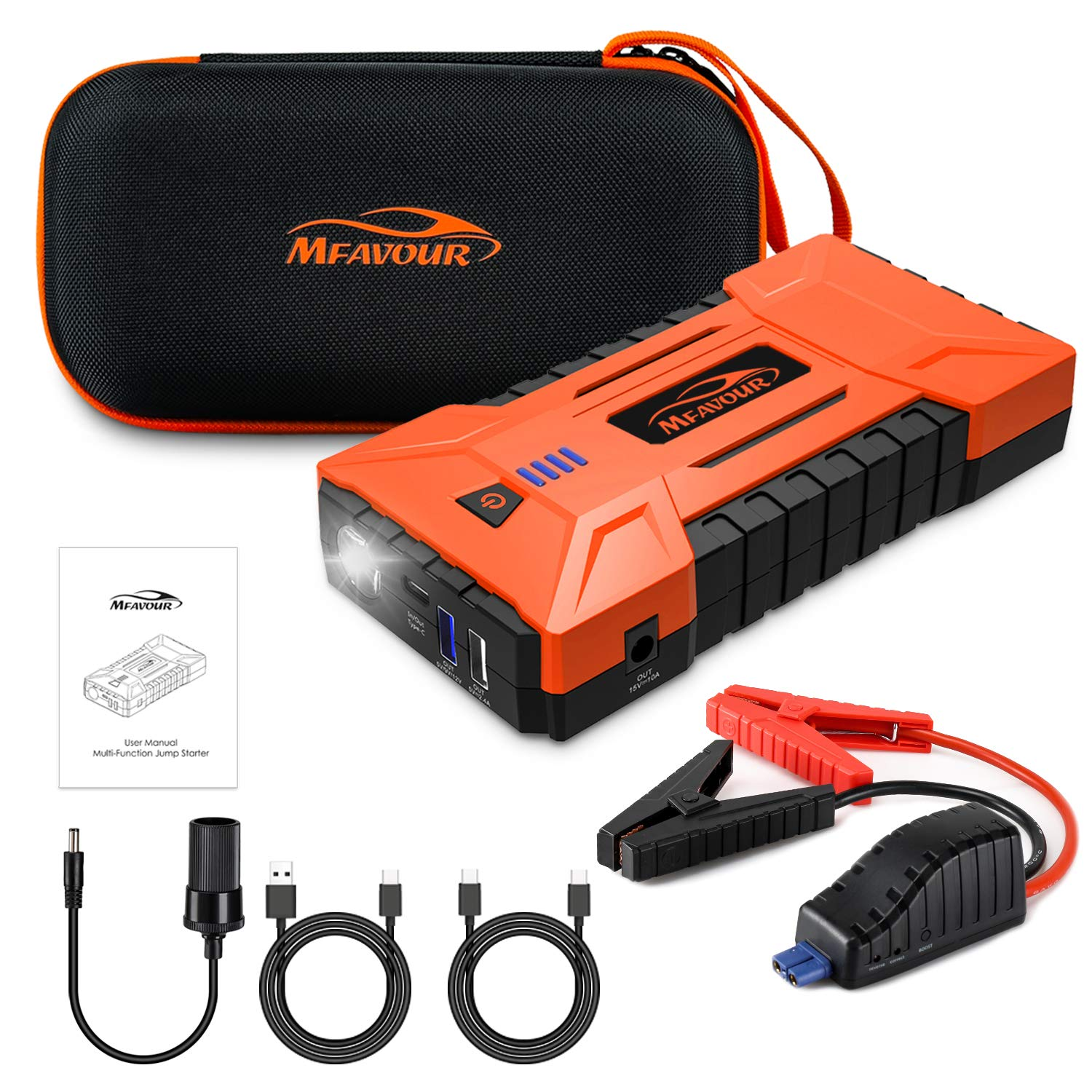 motorcycles mfavour Car Jump Starter 1200A Peak 16000mAh Portable Battery Booster with with dual USB outputs DC output and LED flashlight for cars trucks boats