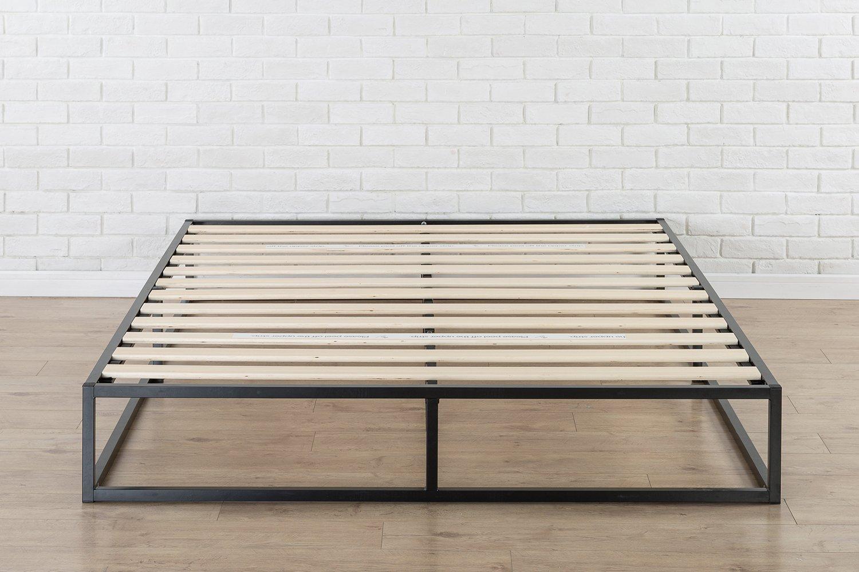 zinus modern studio 10 inch platforma low profile bed frame mattress foundation boxspring optional wood slat support queen - Low Profile Bed Frame