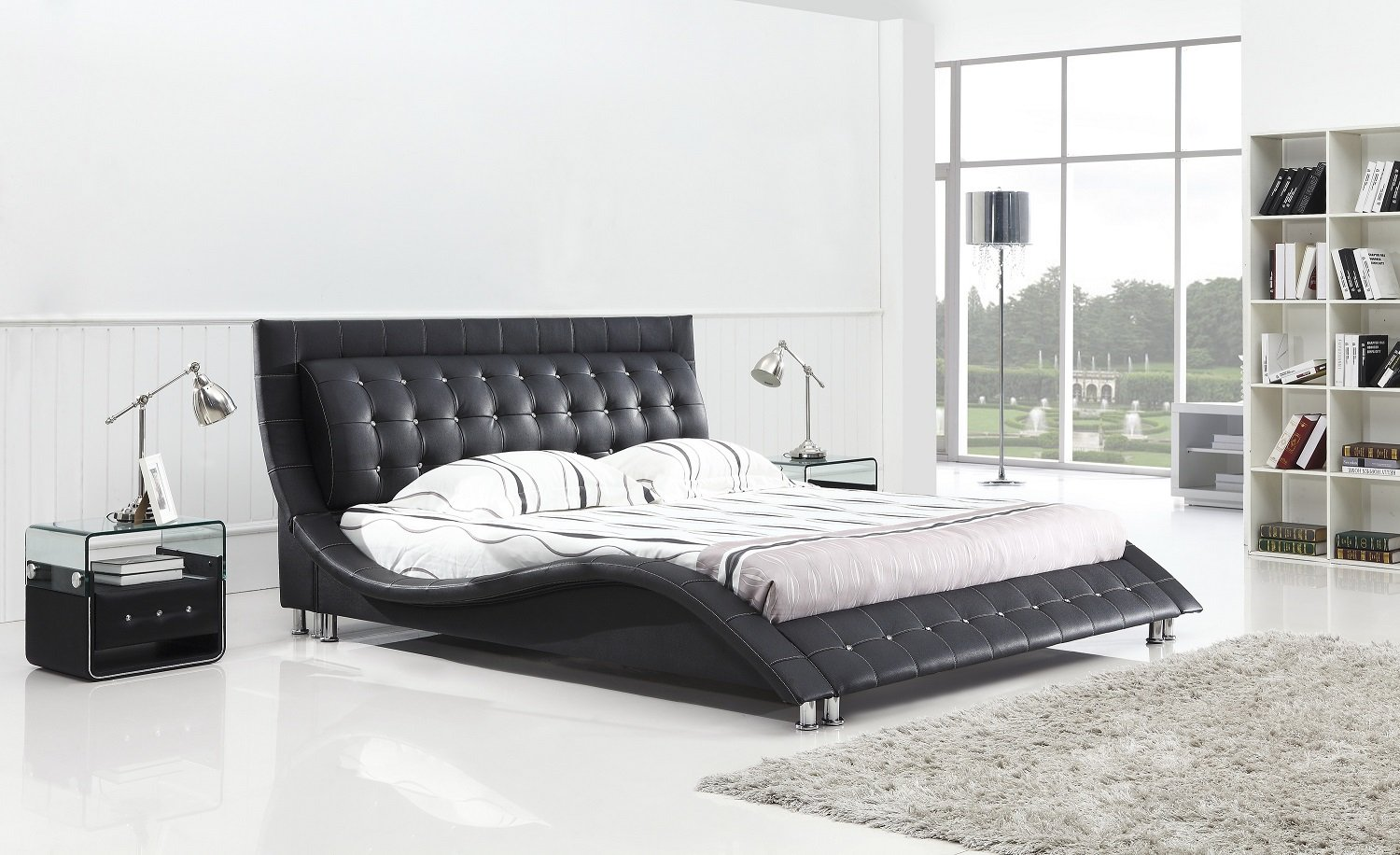 Modern bedroom furniture dublin - Amazon Com Dublin Modern Platform Bed Queen Size Black Kitchen Dining