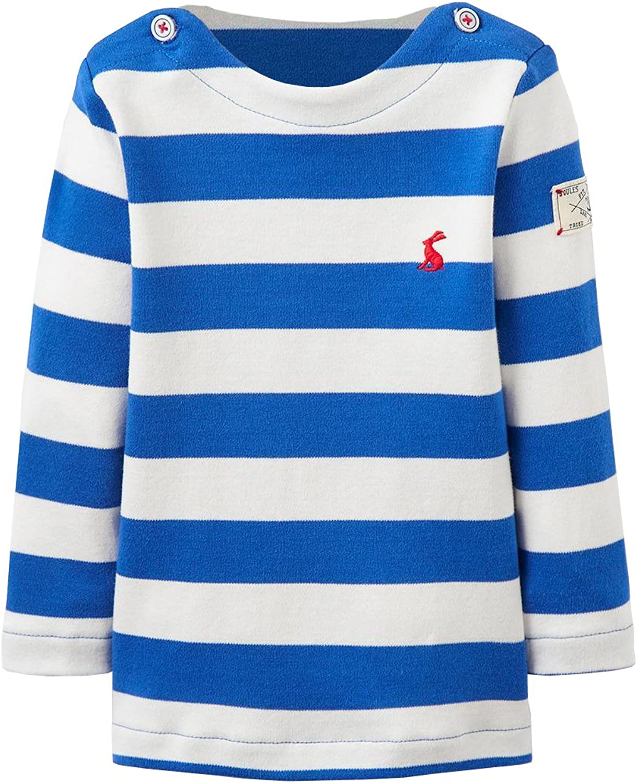 Joules Baby Boys Long Sleeved Harbour Striped Top Ocean Blue Stripe