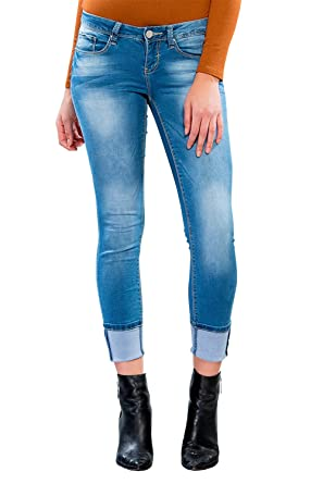 7be5e71730917 Womens Luxe Mega Cuffed Washed Anklet Capri Jeans Pants P702993 at ...
