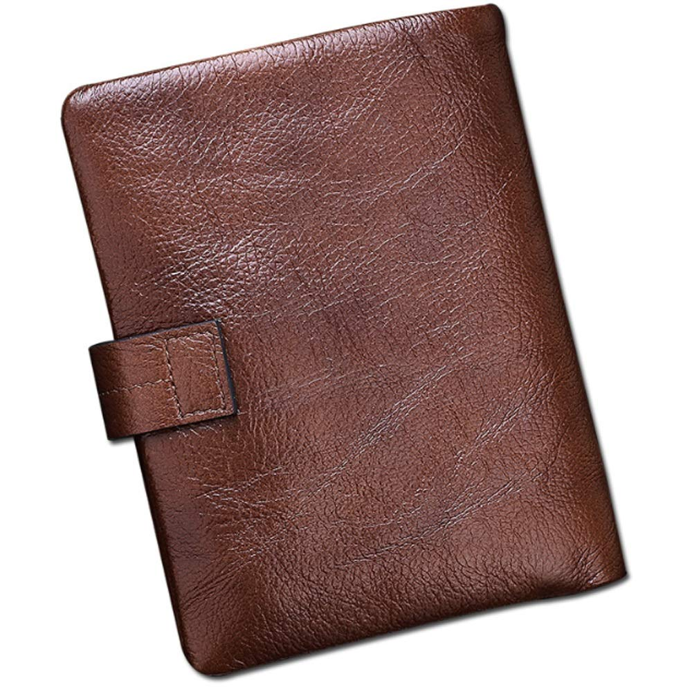 JUNJIAGAO Mens Wallet Leather Top Layer Cowhide Fashion Casual Mens Bag Color : Brown, Size : S