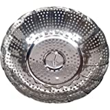 Folding Stainless Steel Vegetable Steamer Basket, Silver