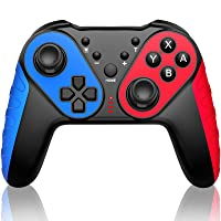 JACKiSS PRO Wireless Pro Controller for Switch Controllers,Pro Controller Compatible with Switch/Switch Lite, Remote Control for Switch Controller Wireless With Turbo/Motion Control/Vibration-Blue/Red