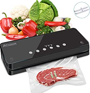 AOBEN Vacuum Sealer Machine,Automatic Food Sealer for Food Savers w/Starter Kit|Dry & Soft & Moist Food Modes|Led Indicator Lights|Separated Design Easy to Clean| Compact Design (Black)