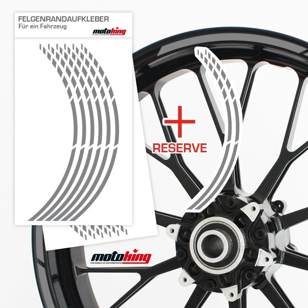 Silber matt Auto /& mehr Felgenrandaufkleber GP im GP-Design passend f/ür 12 Zoll Felgen f/ür Motorrad