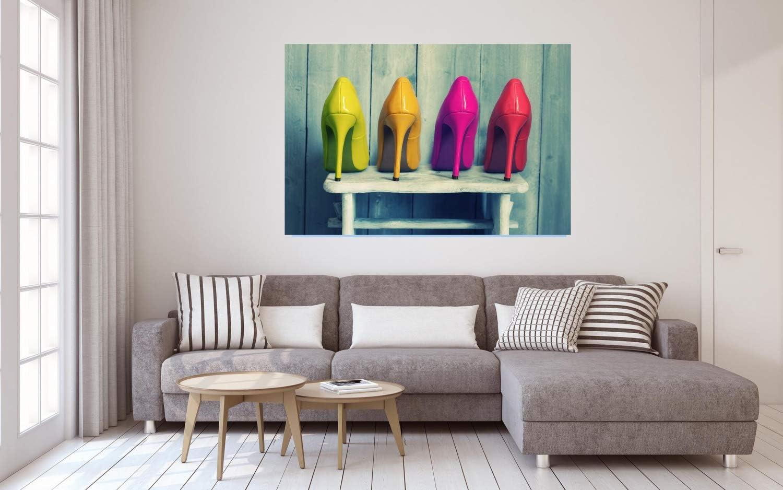 High Heels Schuhe Bunt Leinwand Canvas Bild Wandbild Kunstdruck L1907 Gr/ö/ße 70 cm x 50 cm