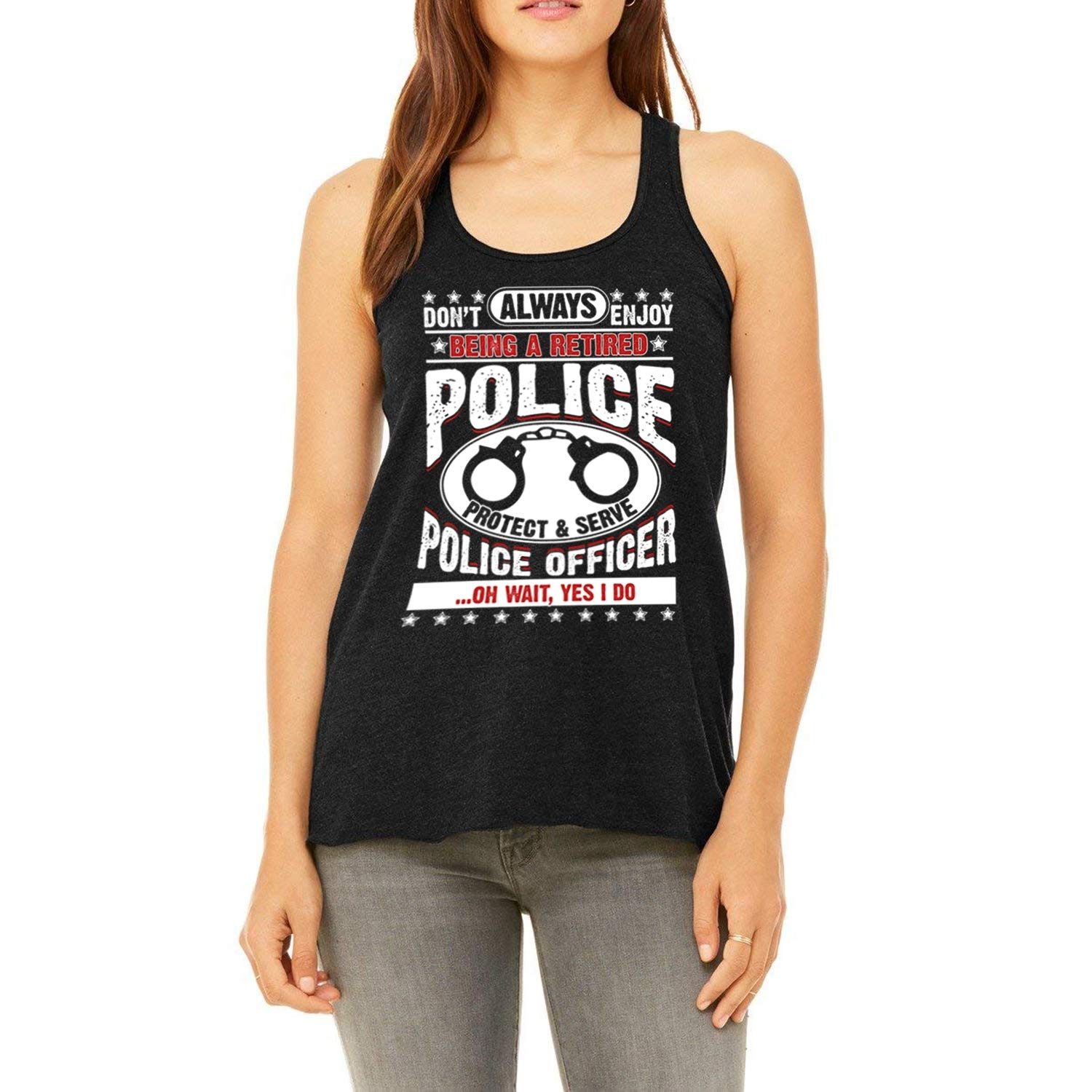 d6b4d167381fb Amazon.com  Being A Retired Police Racerback Tank Top