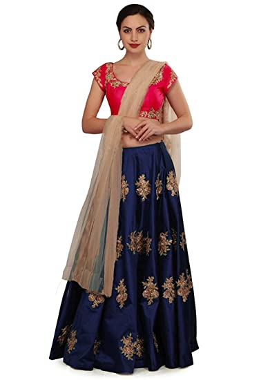 c6ce59d80f Maa Collection Women's Semi-Stitched Tapeta Silk Lehenga Choli (Kalika  Blue_Blue_Free Size ): Amazon.in: Clothing & Accessories